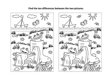 Summer joy themed find the ten differences picture puzzle and coloring page with gumboots and happy playful frogs.