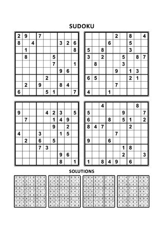 Four sudoku puzzles of comfortable (easy, yet not very easy) level, on A4 or Letter sized page with margins, suitable for large print books, answers included. Set 12.  イラスト・ベクター素材