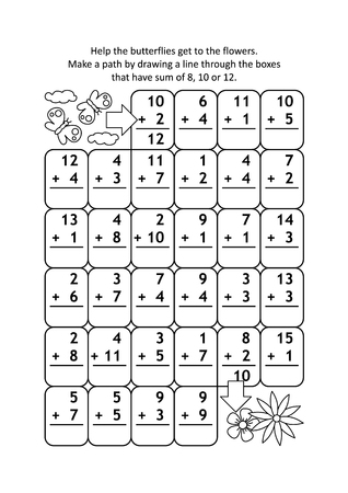 Math maze with addition facts: Help the butterflies get to the flowers. Make a path by drawing a line through the boxes that have sum of 8, 10 or 12. Vectores