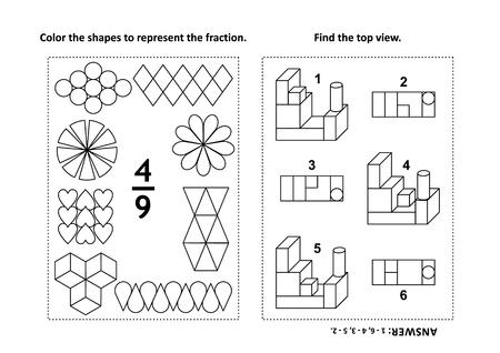 Dos acertijos matemáticos visuales y páginas para colorear. Colorea las formas para representar la fracción. Encuentra la vista superior. En blanco y negro. Respuestas incluidas. Ilustración de vector
