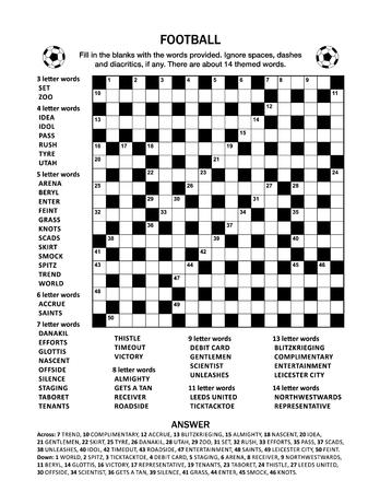 Fußball (Fußball) unter dem Motto 19x19 Kreuzworträtsel (Kriss-Kross, füllen Sie die Lücken aus) Kreuzworträtsel oder Wortspiel (englische Sprache). Geeignet sowohl für ältere Kinder als auch für Erwachsene. Antwort enthalten. Vektorgrafik