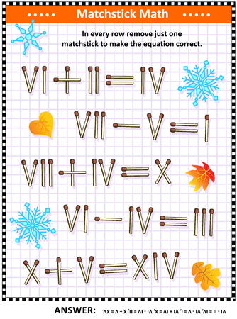 Visual math puzzle with roman numerals: In every row remove just one matchstick to make the equation valid. Answer included.