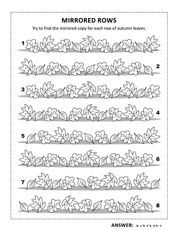 IQ training visual puzzle and coloring page with autumn leaves: Try to find mirrored copy for every row. Answer included.