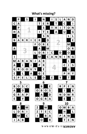 New way to play with crossword puzzles: Find the missing fragments. Answer included. Ilustração