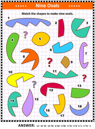 IQ and spatial skills training math visual puzzle: Match the shapes to make nine ovals, or ellipses. Answer included.