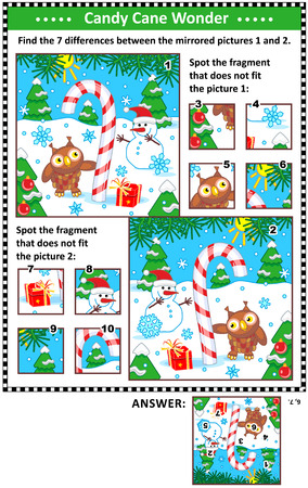 New Year or Christmas visual puzzles with candy cane, snowman and owl. Find the differences between the mirrored pictures. Spot the wrong fragments. Answers included.