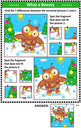 New Year or Christmas visual puzzles with owl and garland. Find the differences between the mirrored pictures. Spot the wrong fragments. Answers included.