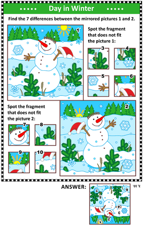 New Year or Christmas visual puzzles with cheerful snowman. Find the differences between the mirrored pictures. Spot the wrong fragments. Answers included.
