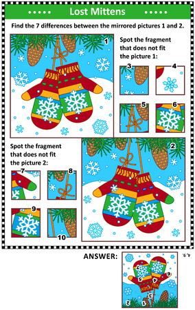 New Year or Christmas visual puzzles with pair of knitted mittens. Find the differences between the mirrored pictures. Spot the wrong fragments. Answers included.