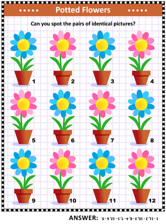 IQ and memory training visual puzzle with potted flowers: Can you spot the pairs of identical pictures? Answer included.