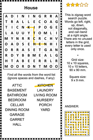 House themed zigzag word search puzzle (suitable both for kids and adults). Answer included.