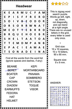 Headwear themed zigzag word search puzzle (suitable both for kids and adults). Answer included.