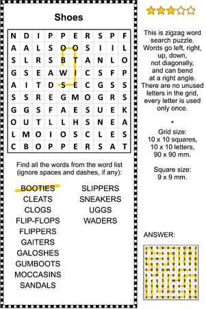 Shoes themed zigzag word search puzzle (suitable both for kids and adults). Answer included.