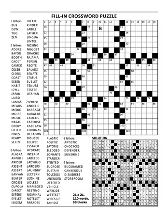 Fill in the blanks crossword puzzle with american style grid of 23x23 size, 68 blocks, 110 words, one letter revealed. Answer included.