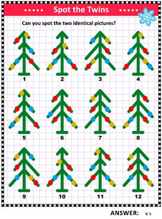 Winter holidays, Christmas or New Year themed visual puzzle with abstract decorated christmas trees: Can you spot the two identical pictures? Answer included.