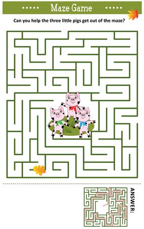 Doolhofspel: Kun jij de drie biggetjes helpen om uit het doolhof te komen? Antwoord inbegrepen.