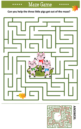 Maze game: Can you help the three little pigs get out of the maze? Answer included.
