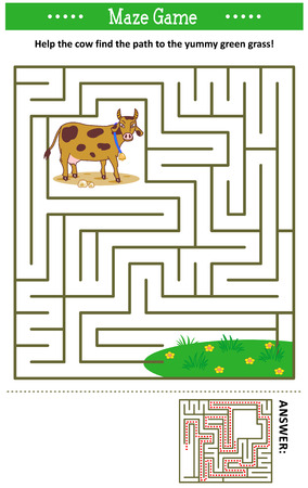 Maze game: Help the cow find the path to the yummy green grass. Answer included.