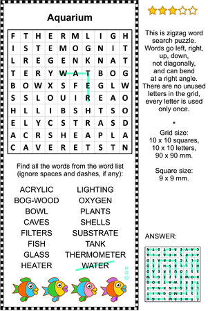 Aquarium themed zigzag word search puzzle (suitable both for kids and adults). Answer included.