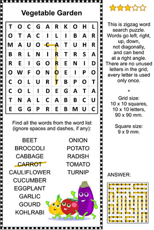 Vegetables themed zigzag word search puzzle (suitable both for kids and adults). Answer included.