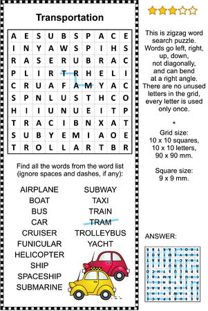 Transportation themed zigzag word search puzzle (suitable both for kids and adults). Answer included. Ilustração