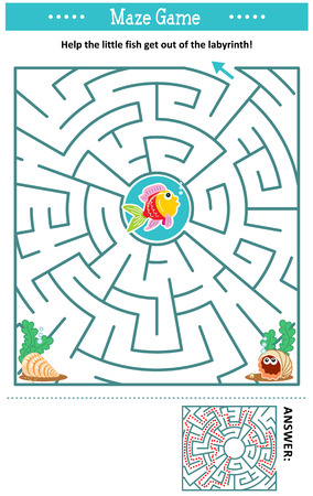 Maze game: Help the little fish get out of the labyrinth. Answer included.