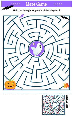 Maze game: Help the little ghost get out of the labyrinth. Answer included.