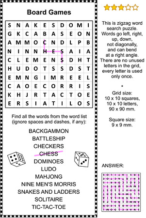 Board games themed zigzag word search puzzle (suitable both for kids and adults). Answer included.