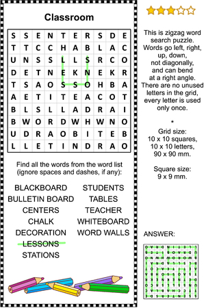 Classroom themed zigzag word search puzzle (suitable both for kids and adults). Answer included.