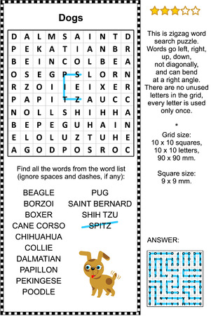 Dogs themed zigzag word search puzzle (suitable both for kids and adults). Answer included. Illustration