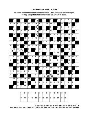 Pagina di puzzle con codebreaker (parola in codice, code cracker) gioco di parole o cruciverba per adulti. Conoscenza generale, alcune parole già in atto, livello medio. Risposta inclusa.