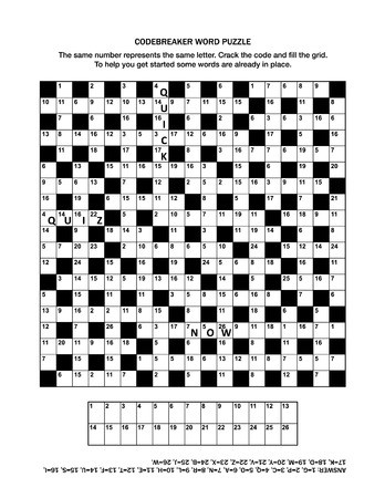 Puzzle page with codebreaker (codeword, code cracker) word game or crossword puzzle for grown-ups. General knowledge, some words already in place, medium level. Answer included.