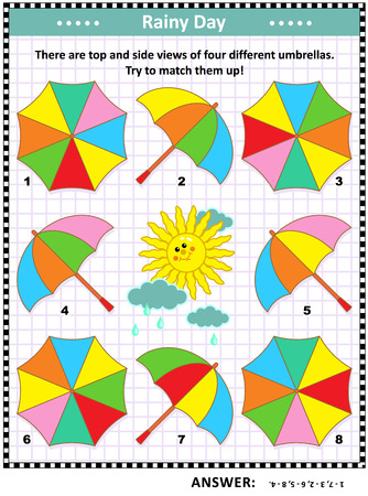 IQ and spatial skills training visual puzzle with colorful umbrellas: There are top and side views of four different umbrellas. Try to match them up! Answer included.