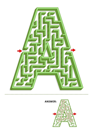 Learning alphabet activity - letter A three-dimensional maze. Use it as is or add fun cartoon characters. Answer included. Stock Vector - 112659668