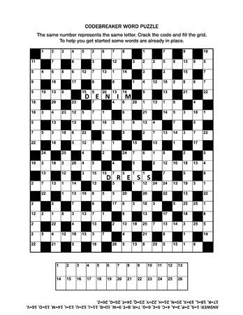 Puzzleseite mit Codebreaker (Codeword, Codecracker) Wortspiel oder Kreuzworträtsel für Erwachsene. Allgemeinwissen, einige Wörter bereits vorhanden, mittleres Niveau. Antwort enthalten. Vektorgrafik