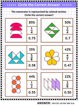 Math skills and IQ training visual puzzle or worksheet for schoolchildren and adults. Circle the correct answer. Find the number equivalent for each pictorial fraction representation. Answer included. 일러스트