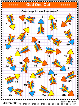IQ training visual puzzle with colorful arrows (suitable both for kids and adults): Spot the odd one out. Find the unique arrow. Answer included.