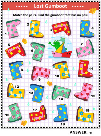 Visual puzzle with colorful rubber boots: Match the pairs. Find the gumboot that has no pair. Answer included. Illustration