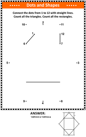 IQ and spatial skills math activity with dot to dot drawing and basic shapes counting (triangles and rectangles). Suitable both for children and adults. Answer included.