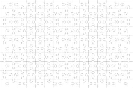 Plantilla en blanco de rompecabezas o pautas de corte de 150 piezas transparentes, orientación horizontal y relación visual 3: 2. Las piezas son fáciles de separar (cada pieza tiene una sola forma).