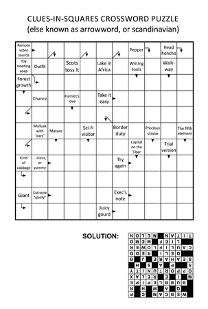 Clues-in-squares crossword puzzle, or arrow word puzzle, else arrowword, scandinavian, or scanword, skanword. General knowledge, non-themed, family friendly. Solution included. Illustration