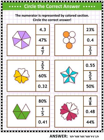 Compétences mathématiques et énigme visuelle ou feuille de travail pour l'entraînement au QI pour les écoliers et les adultes. Entourez la bonne réponse. Trouvez le nombre équivalent pour chaque représentation de fraction imagée. Réponse incluse.