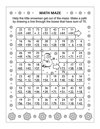 Math maze with addition facts: Help the snowman get out of the maze. Make a path by drawing a line through the boxes that have sum of 75. Winter and holidays themed.