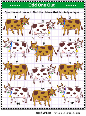 IQ training visual puzzle with milk cows on the pasture (suitable both for kids and adults): Spot the odd one out. Find the unique picture. Answer included. 矢量图像