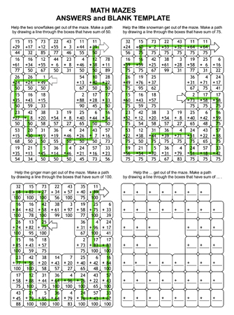 Solutions, or answers for previous 3 math mazes, plus blank template. Can be used also as templates for new puzzle worksheets. Illustration
