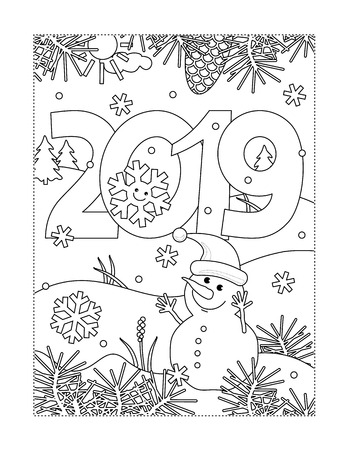Winter holidays, New Year or Christmas joy themed coloring page with year 2019 heading, winter outdoor scene and little cute snowman wearing santa cap