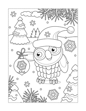 Winter holidays, New Year or Christmas joy themed coloring page with owl wearing santa cap and holding beautiful ornament Stock Illustratie