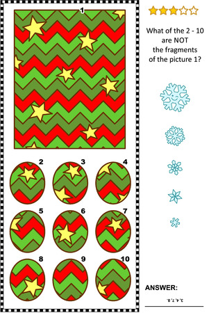 IQ training abstract visual puzzle, winter holidays, Christmas or New Year themed: What of the 2 - 10 are not the fragments of the picture 1? Answer included.