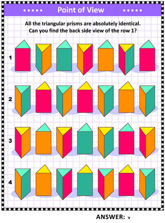 Educational math puzzle with triangular prisms (suitable both for children and adults): Find the back side view of the row 1. Answer included. Illustration