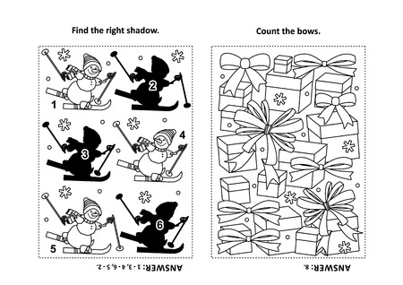 Two visual puzzles and coloring page for kids. Find the shadow for each picture of skiing sporty snowman. Count the bows. Black and white. Answers included. Ilustracja